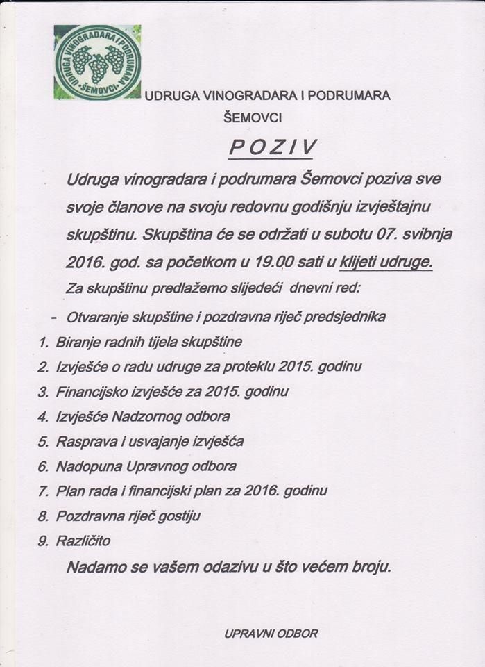 Poziv Udruge vinogradara i podrumara Šemovci